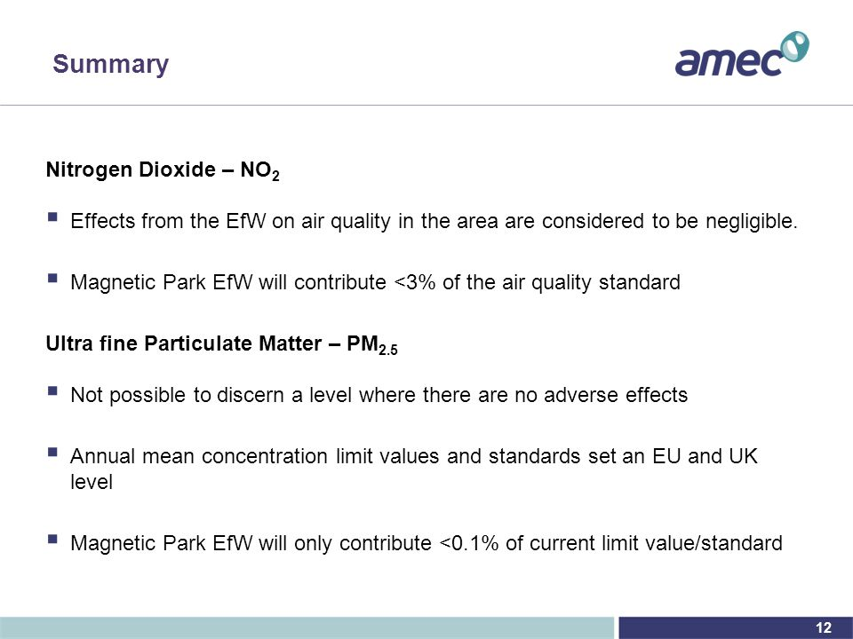 12 Summary Nitrogen Dioxide – NO 2  Effects from the EfW on air quality in the area are considered to be negligible.