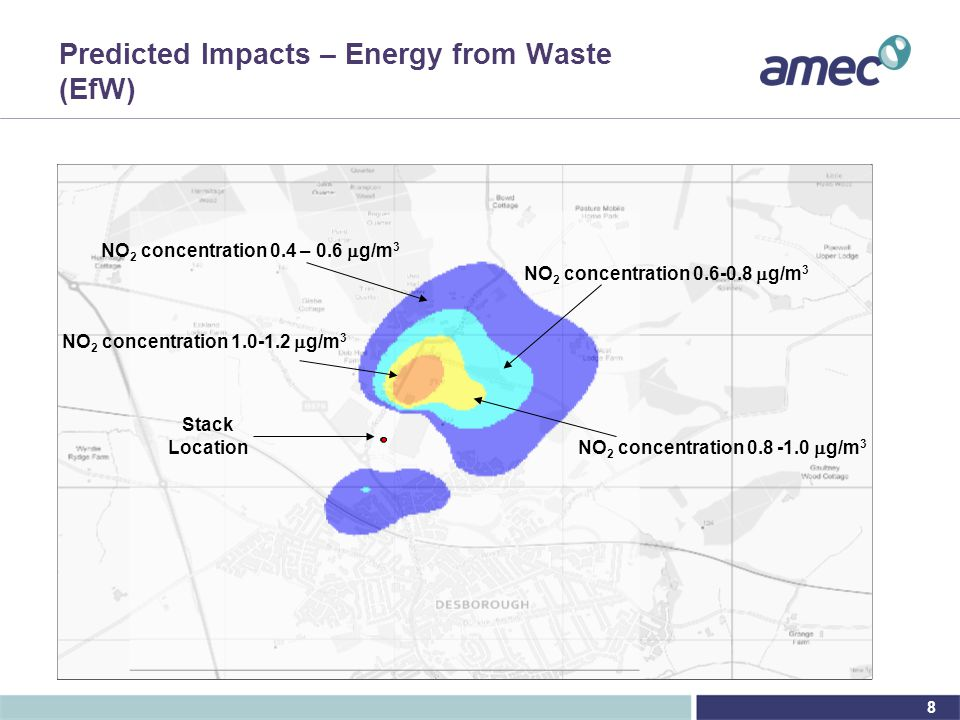 8 Predicted Impacts – Energy from Waste (EfW) NO 2 concentration 0.4 – 0.6  g/m 3 NO 2 concentration 0.6-0.8  g/m 3 Stack Location NO 2 concentration 0.8 -1.0  g/m 3 NO 2 concentration 1.0-1.2  g/m 3