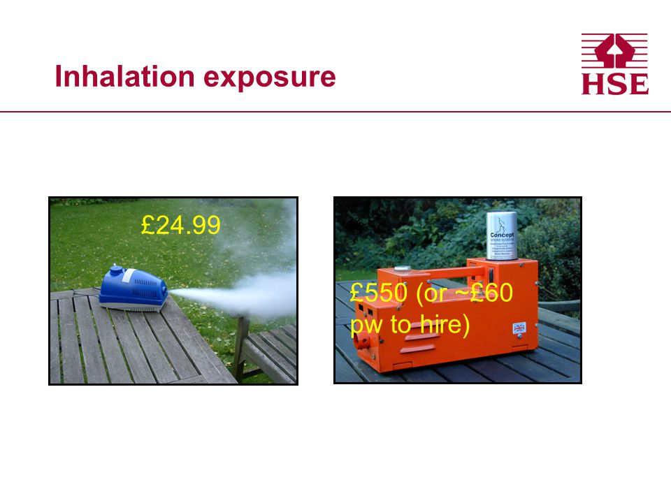 Inhalation exposure £24.99 £550 (or ~£60 pw to hire)