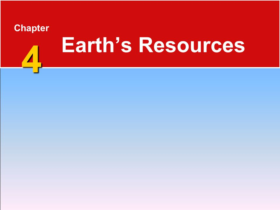 4 Chapter 4 Earth's Resources