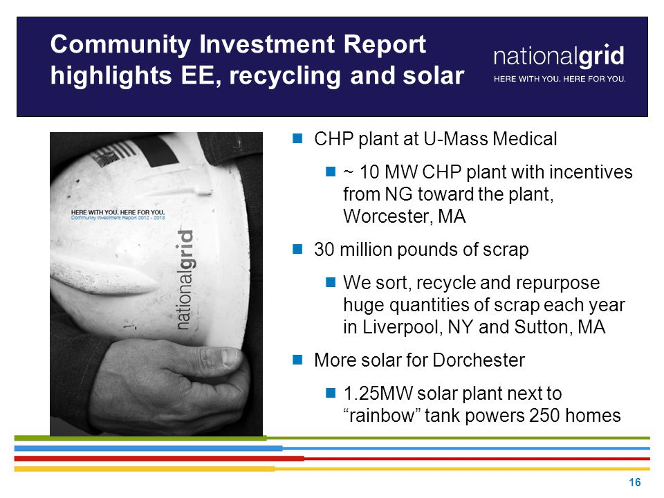 16 Community Investment Report highlights EE, recycling and solar  CHP plant at U-Mass Medical  ~ 10 MW CHP plant with incentives from NG toward the