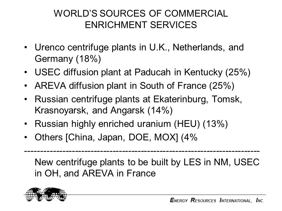 E NERGY R ESOURCES I NTERNATIONAL, I NC. WORLD'S SOURCES OF COMMERCIAL ENRICHMENT SERVICES Urenco centrifuge plants in U.K., Netherlands, and Germany