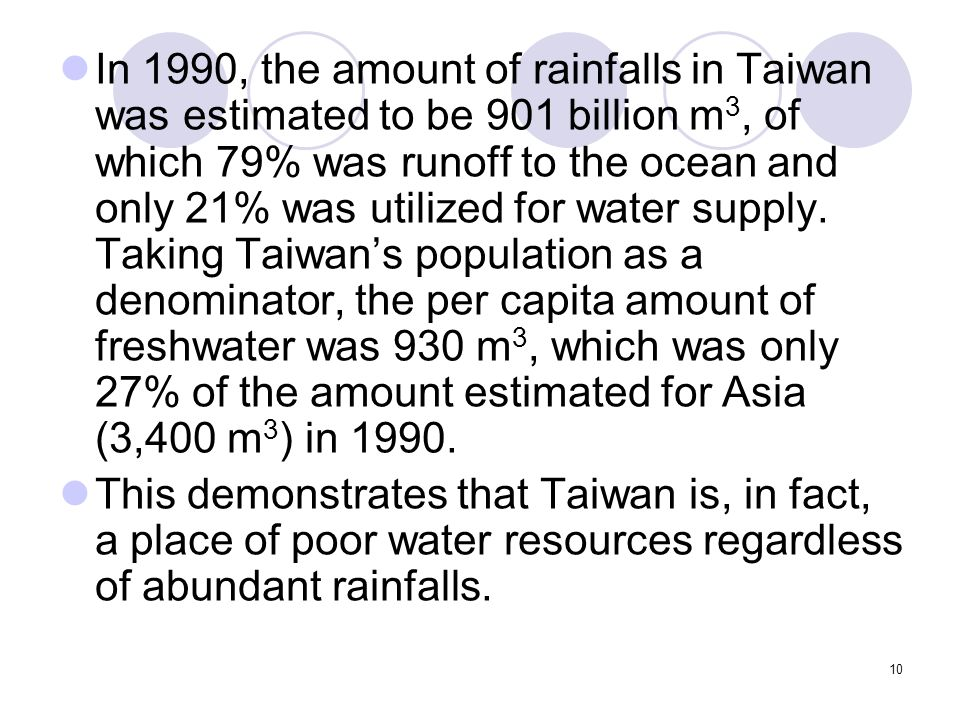 10 In 1990, the amount of rainfalls in Taiwan was estimated to be 901 billion m 3, of which 79% was runoff to the ocean and only 21% was utilized for water supply.