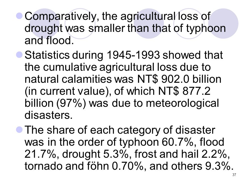 37 Comparatively, the agricultural loss of drought was smaller than that of typhoon and flood.