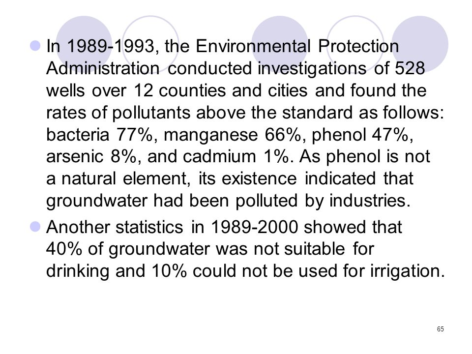 65 In 1989-1993, the Environmental Protection Administration conducted investigations of 528 wells over 12 counties and cities and found the rates of pollutants above the standard as follows: bacteria 77%, manganese 66%, phenol 47%, arsenic 8%, and cadmium 1%.