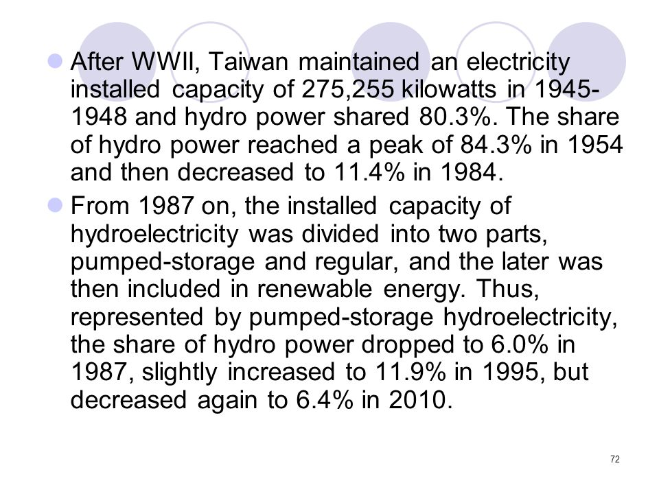72 After WWII, Taiwan maintained an electricity installed capacity of 275,255 kilowatts in 1945- 1948 and hydro power shared 80.3%.