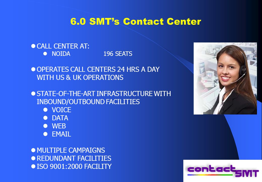 6.0 SMT's Contact Center CALL CENTER AT: NOIDA196 SEATS OPERATES CALL CENTERS 24 HRS A DAY WITH US & UK OPERATIONS STATE-OF-THE-ART INFRASTRUCTURE WITH INBOUND/OUTBOUND FACILITIES VOICE DATA WEB EMAIL MULTIPLE CAMPAIGNS REDUNDANT FACILITIES ISO 9001:2000 FACILITY