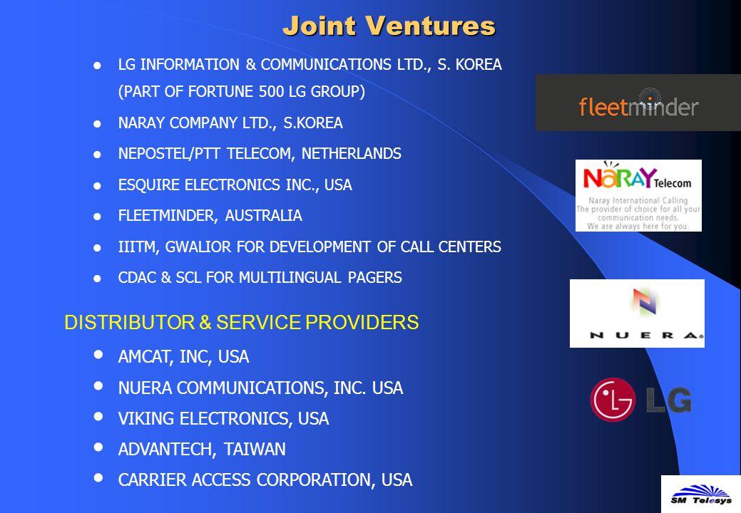 Joint Ventures LG INFORMATION & COMMUNICATIONS LTD., S. KOREA (PART OF FORTUNE 500 LG GROUP) NARAY COMPANY LTD., S.KOREA NEPOSTEL/PTT TELECOM, NETHERL