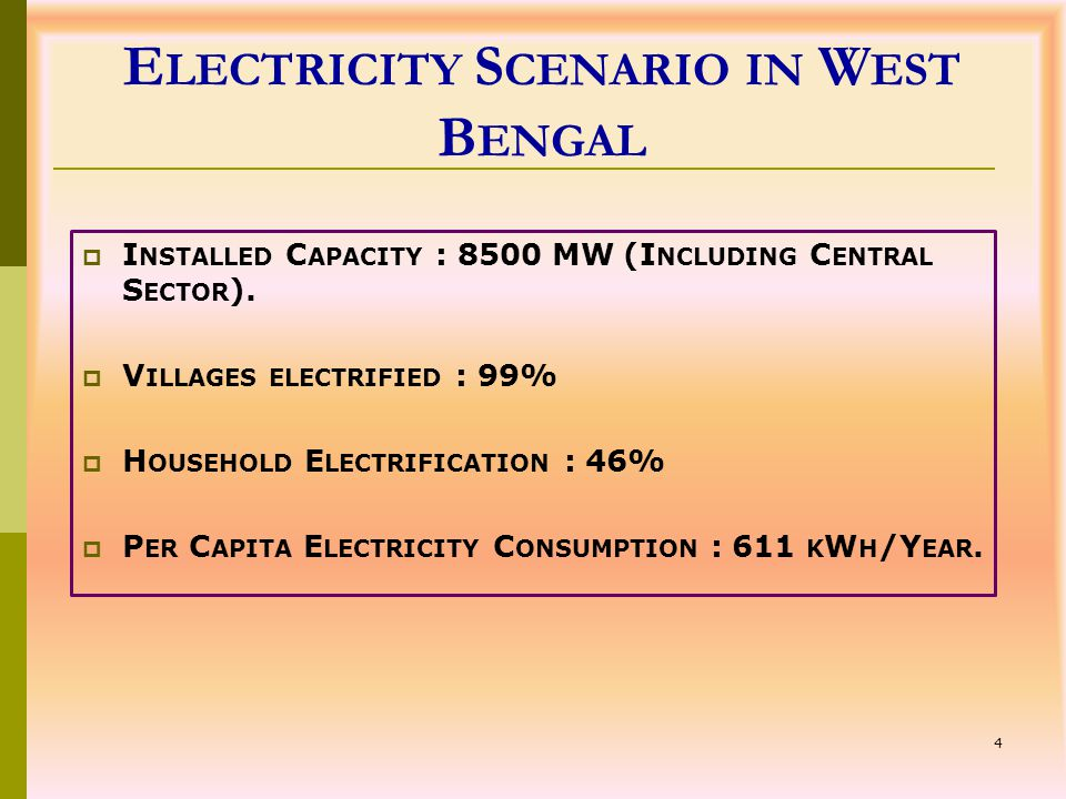 4 E LECTRICITY S CENARIO IN W EST B ENGAL  I NSTALLED C APACITY : 8500 MW (I NCLUDING C ENTRAL S ECTOR ).