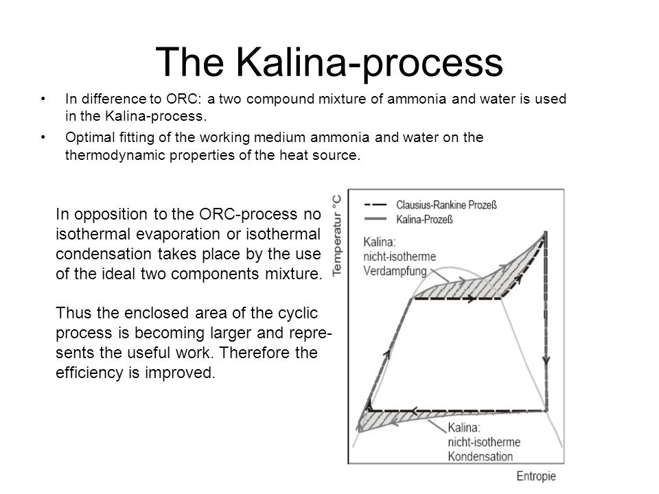 The Kalina-process In difference to ORC: a two compound mixture of ammonia and water is used in the Kalina-process.
