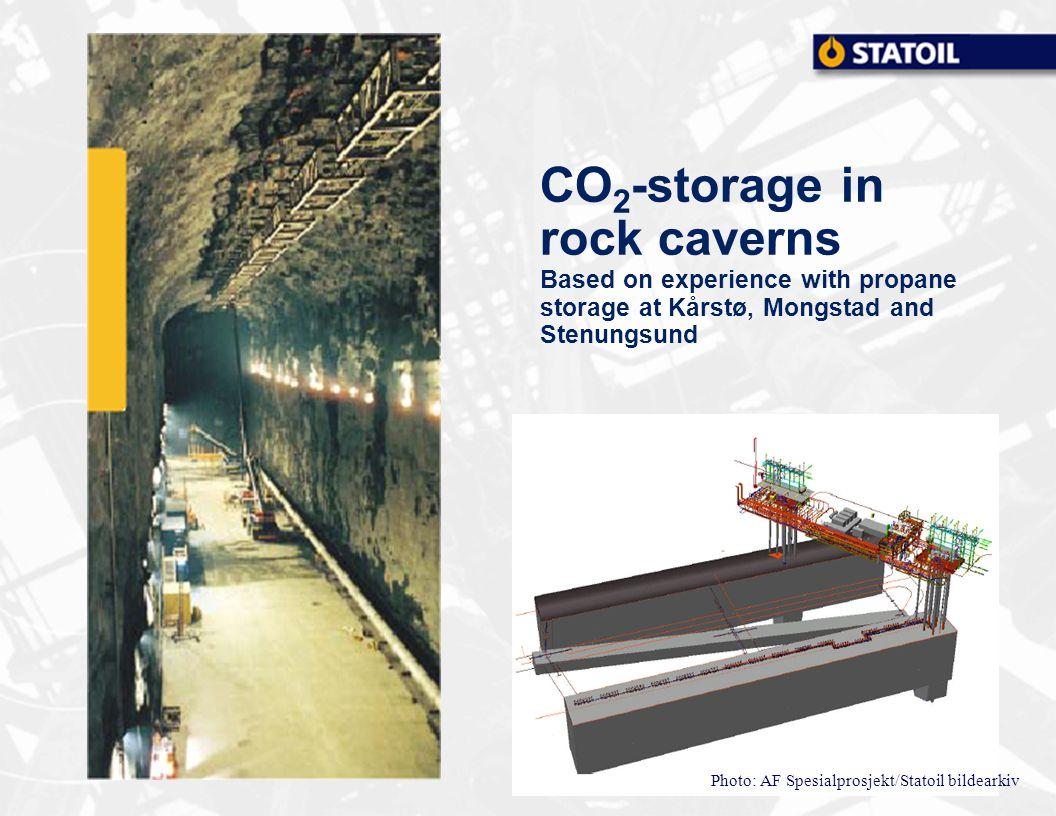 Photo: AF Spesialprosjekt/Statoil bildearkiv CO 2 -storage in rock caverns Based on experience with propane storage at Kårstø, Mongstad and Stenungsund