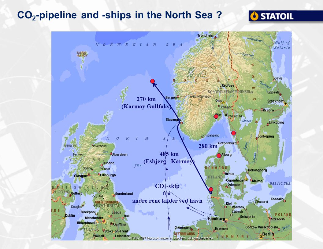 CO 2 -pipeline and -ships in the North Sea .