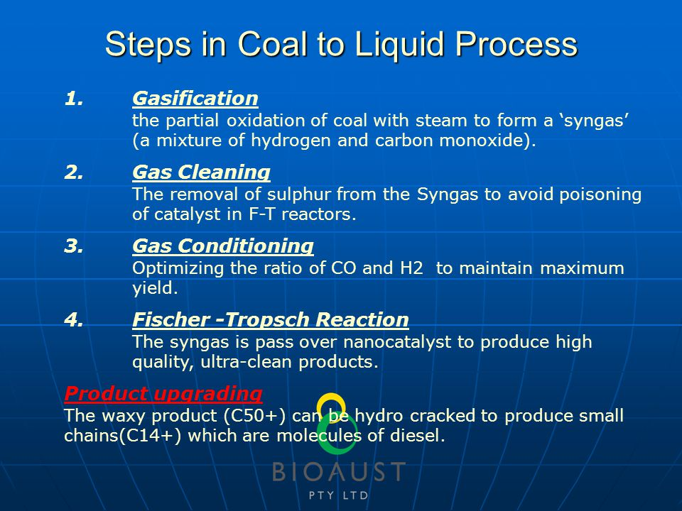 Steps in Coal to Liquid Process 1.Gasification the partial oxidation of coal with steam to form a 'syngas' (a mixture of hydrogen and carbon monoxide).