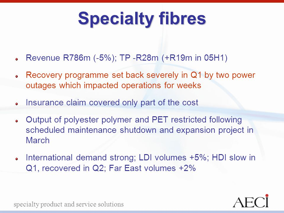 specialty product and service solutions Specialty fibres Revenue R786m (-5%); TP -R28m (+R19m in 05H1) Recovery programme set back severely in Q1 by t