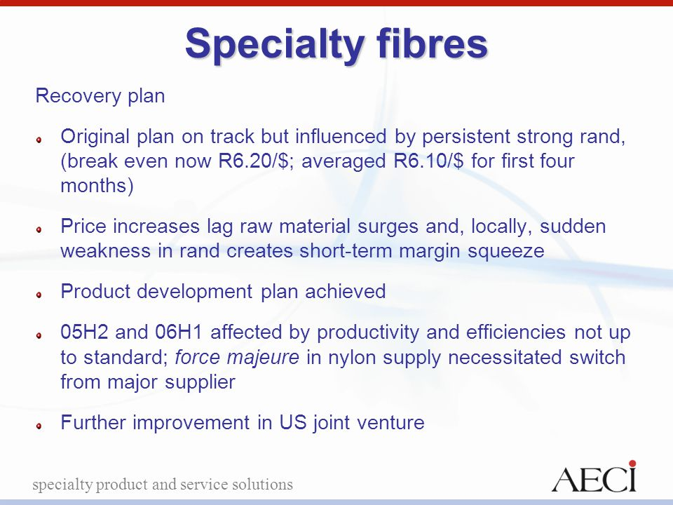 specialty product and service solutions Specialty fibres Recovery plan Original plan on track but influenced by persistent strong rand, (break even no