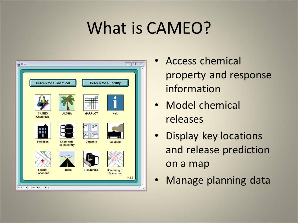 How do we use CAMEO? Find the record for the facility.