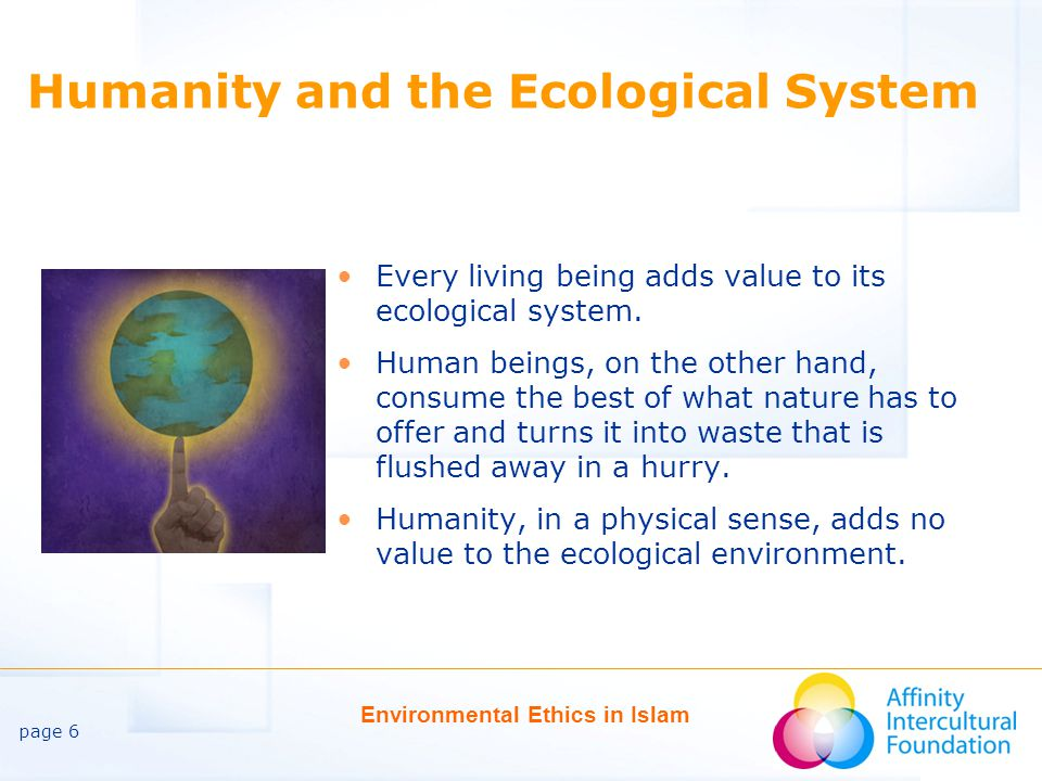 page 6 Environmental Ethics in Islam Humanity and the Ecological System Every living being adds value to its ecological system.