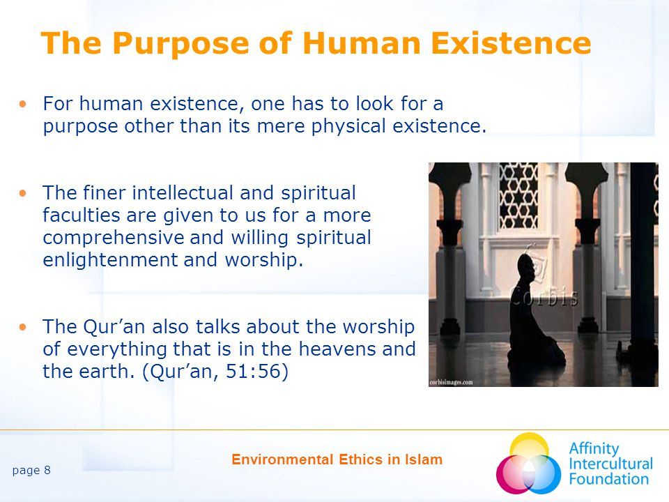 page 8 Environmental Ethics in Islam The Purpose of Human Existence For human existence, one has to look for a purpose other than its mere physical existence.
