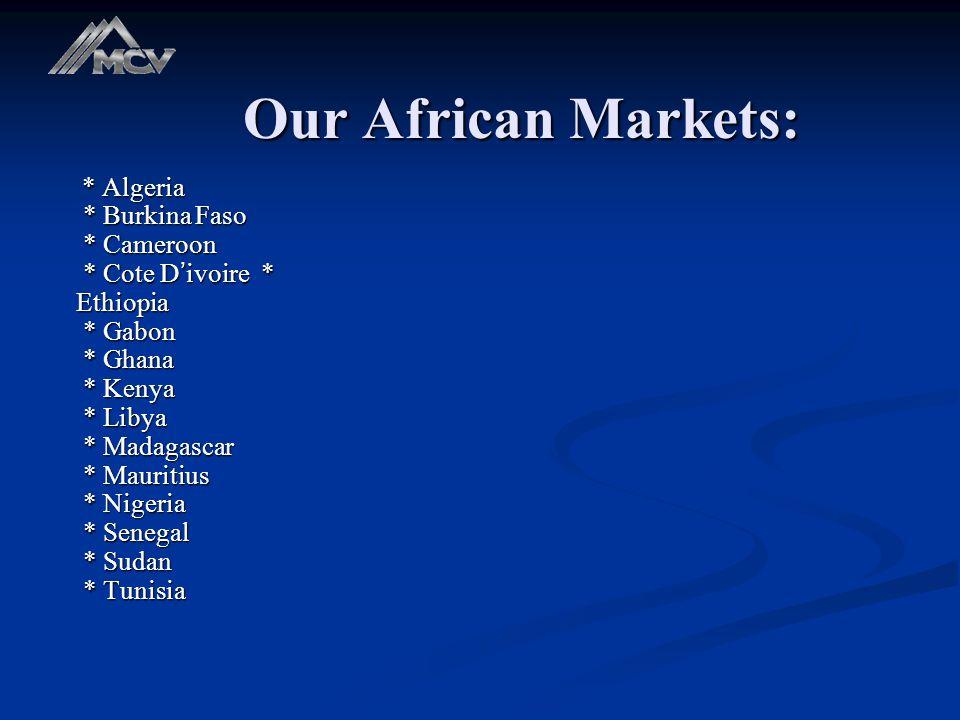 Our African Markets: * Algeria * Burkina Faso * Cameroon * Cote D ' ivoire * Ethiopia * Gabon * Ghana * Kenya * Libya * Madagascar * Mauritius * Nigeria * Senegal * Sudan * Tunisia * Algeria * Burkina Faso * Cameroon * Cote D ' ivoire * Ethiopia * Gabon * Ghana * Kenya * Libya * Madagascar * Mauritius * Nigeria * Senegal * Sudan * Tunisia