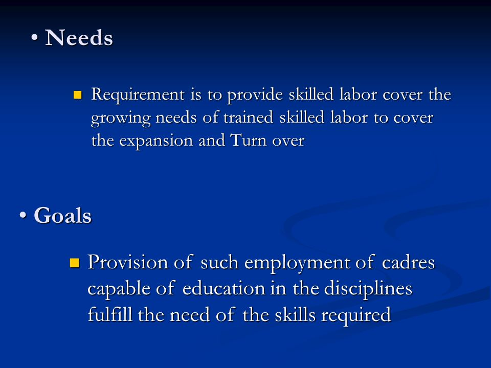 Needs Needs Requirement is to provide skilled labor cover the growing needs of trained skilled labor to cover the expansion and Turn over Requirement is to provide skilled labor cover the growing needs of trained skilled labor to cover the expansion and Turn over Goals Goals Provision of such employment of cadres capable of education in the disciplines fulfill the need of the skills required Provision of such employment of cadres capable of education in the disciplines fulfill the need of the skills required