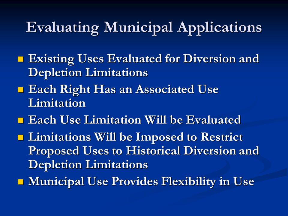 Conversion of Existing Uses To Municipal Use Existing Uses: 250 Family connections Existing Uses: 250 Family connections 100 Acres of Irrigation 100 Acres of Irrigation 500 Cattle or Equivalent 500 Cattle or Equivalent 1 Convenience Store 1 Convenience Store Diversion and Depletion Calculations: 250 Families : 0.45af/fam(div); 0.09af/fam(dep) Septic Tank 250 Families : 0.45af/fam(div); 0.09af/fam(dep) Septic Tank 100 Acres : 4af/ac (div); 2.12af/ac (dep) 100 Acres : 4af/ac (div); 2.12af/ac (dep) 500 Cattle : 0.028af/elu (div) and (dep) 500 Cattle : 0.028af/elu (div) and (dep) 1 store : 1.0 af (div); 0.5 af (dep) 1 store : 1.0 af (div); 0.5 af (dep)