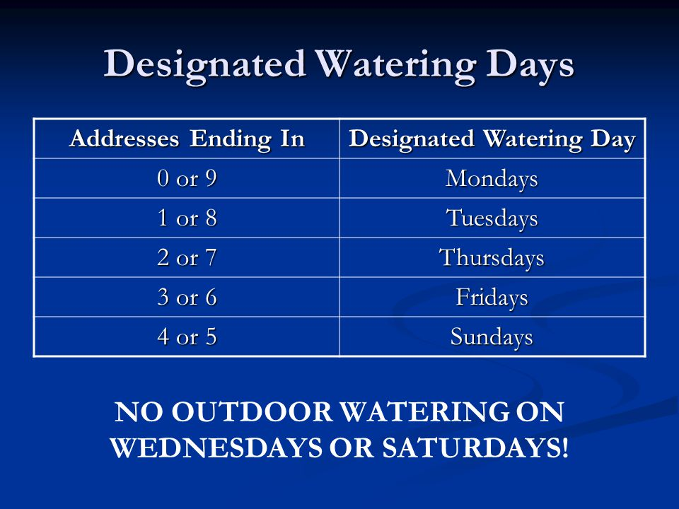 Designated Watering Days Addresses Ending In Designated Watering Day 0 or 9 Mondays 1 or 8 Tuesdays 2 or 7 Thursdays 3 or 6 Fridays 4 or 5 Sundays NO OUTDOOR WATERING ON WEDNESDAYS OR SATURDAYS!