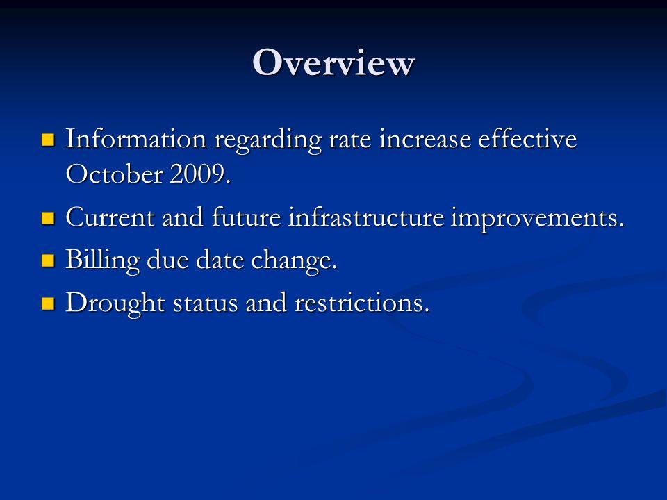 Overview Information regarding rate increase effective October 2009.