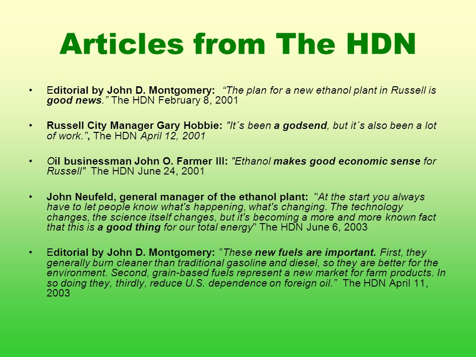 Articles from The HDN Editorial by John D.