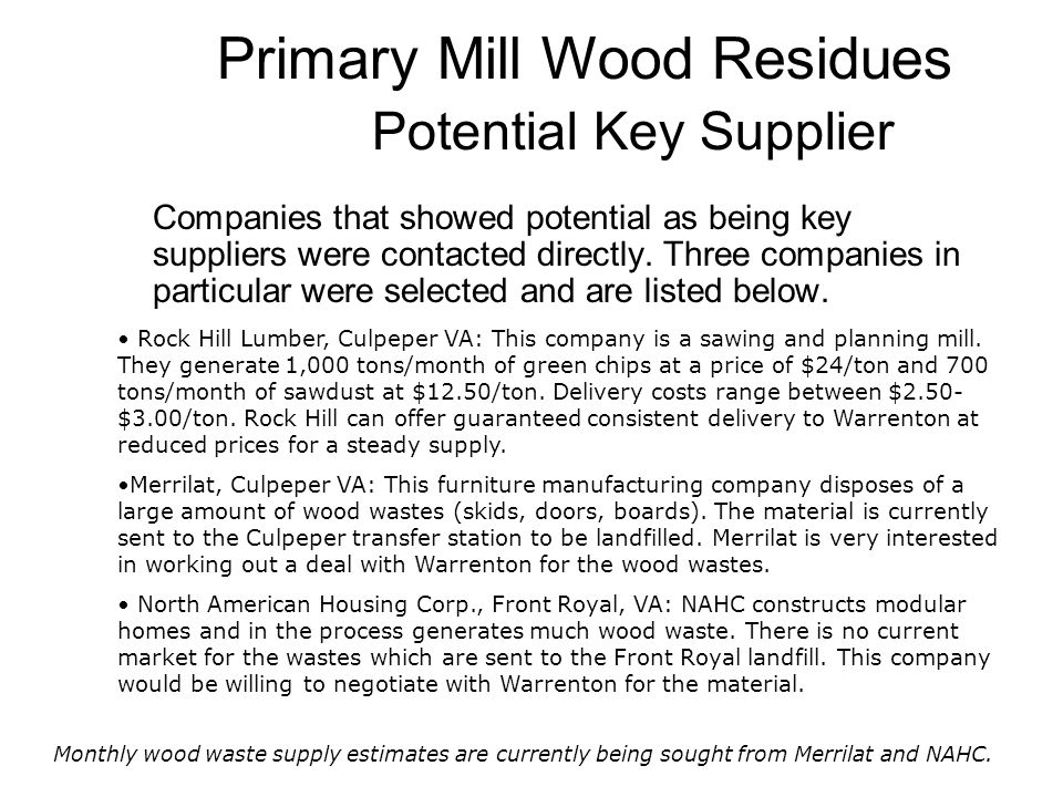 Primary Mill Wood Residues Potential Key Supplier Companies that showed potential as being key suppliers were contacted directly. Three companies in p