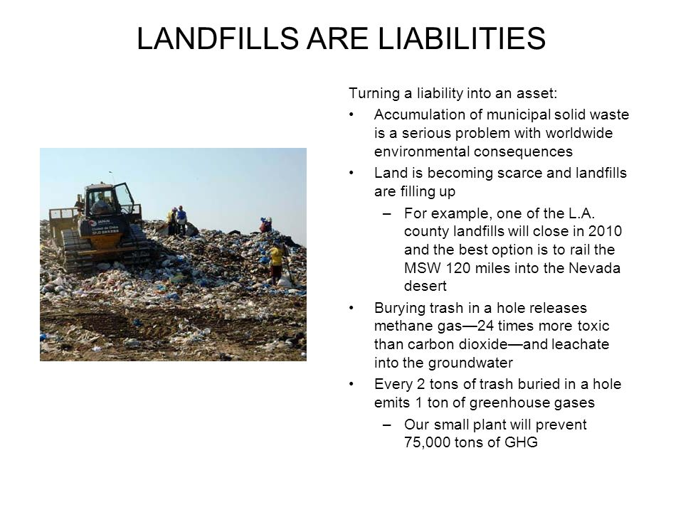 LANDFILLS ARE LIABILITIES Turning a liability into an asset: Accumulation of municipal solid waste is a serious problem with worldwide environmental c