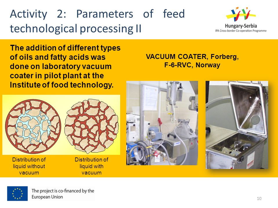 Activity 2: Parameters of feed technological processing II VACUUM COATER, Forberg, F-6-RVC, Norway The addition of different types of oils and fatty acids was done on laboratory vacuum coater in pilot plant at the Institute of food technology.