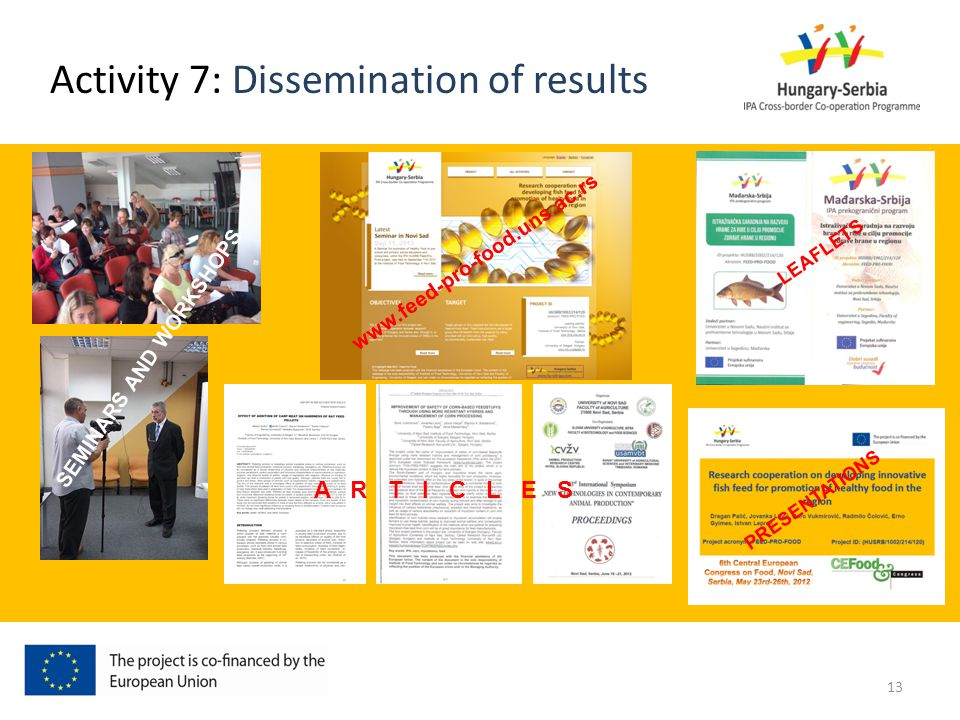 Activity 7: Dissemination of results www.feed-pro-food.uns.ac.rs LEAFLETS PRESENTATIONS A R T I C L E S SEMINARS AND WORKSHOPS 13