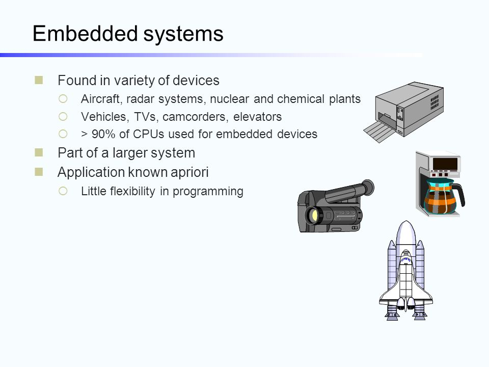 Embedded systems Found in variety of devices  Aircraft, radar systems, nuclear and chemical plants  Vehicles, TVs, camcorders, elevators  > 90% of
