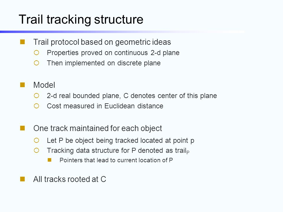 Trail tracking structure Trail protocol based on geometric ideas  Properties proved on continuous 2-d plane  Then implemented on discrete plane Mode
