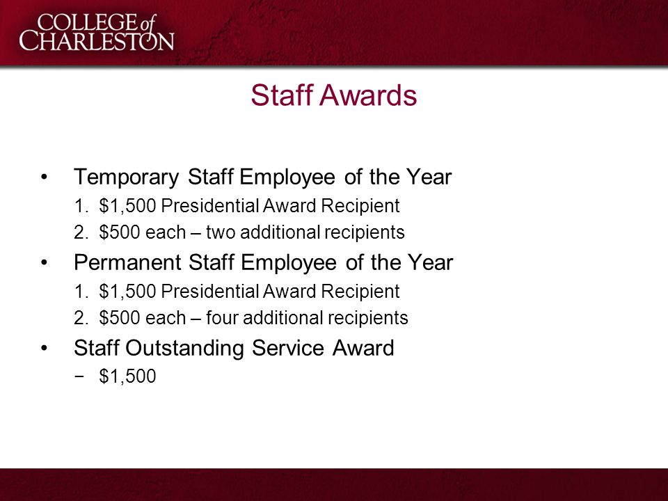 Staff Awards Temporary Staff Employee of the Year 1.$1,500 Presidential Award Recipient 2.$500 each – two additional recipients Permanent Staff Employ