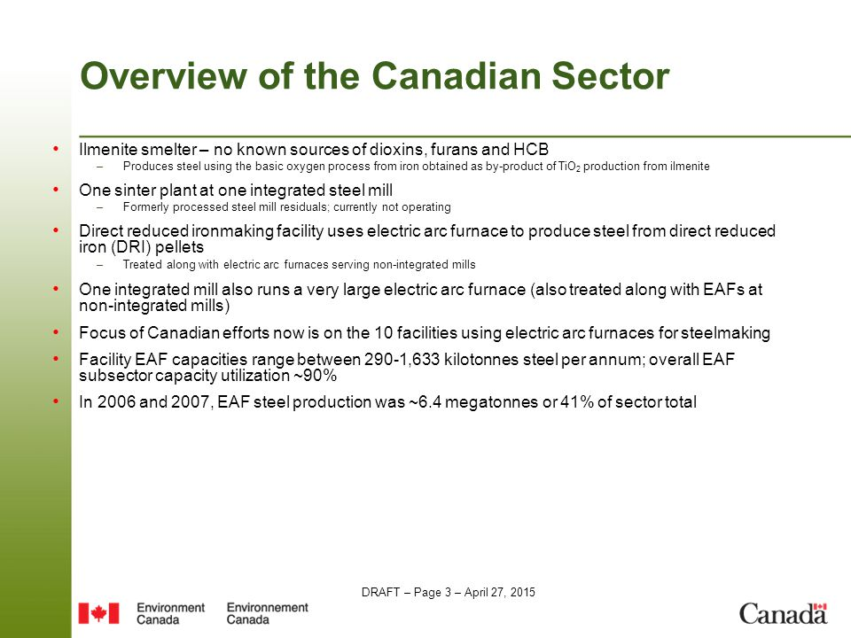 DRAFT – Page 3 – April 27, 2015 Overview of the Canadian Sector Ilmenite smelter – no known sources of dioxins, furans and HCB –Produces steel using the basic oxygen process from iron obtained as by-product of TiO 2 production from ilmenite One sinter plant at one integrated steel mill –Formerly processed steel mill residuals; currently not operating Direct reduced ironmaking facility uses electric arc furnace to produce steel from direct reduced iron (DRI) pellets –Treated along with electric arc furnaces serving non-integrated mills One integrated mill also runs a very large electric arc furnace (also treated along with EAFs at non-integrated mills) Focus of Canadian efforts now is on the 10 facilities using electric arc furnaces for steelmaking Facility EAF capacities range between 290-1,633 kilotonnes steel per annum; overall EAF subsector capacity utilization ~90% In 2006 and 2007, EAF steel production was ~6.4 megatonnes or 41% of sector total