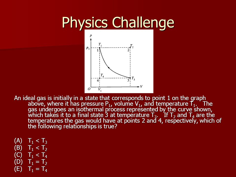 Physics Challenge An ideal gas is initially in a state that corresponds to point 1 on the graph above, where it has pressure P 1, volume V 1, and temperature T 1.