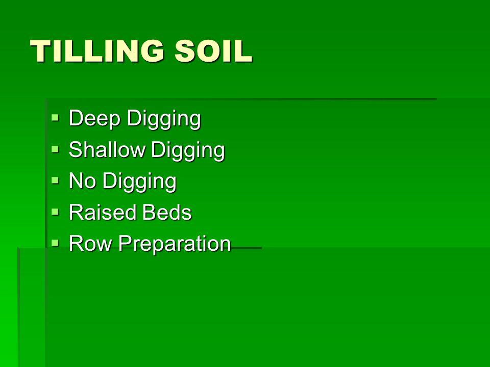 TILLING SOIL  Deep Digging  Shallow Digging  No Digging  Raised Beds  Row Preparation