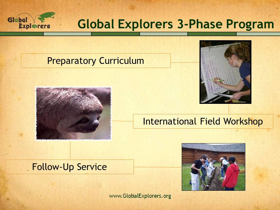www.GlobalExplorers.org International Field Workshop Follow-Up Service Preparatory Curriculum Global Explorers 3-Phase Program