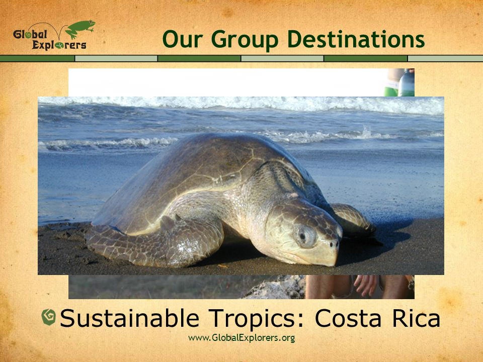 www.GlobalExplorers.org Our Group Destinations Sustainable Tropics: Costa Rica