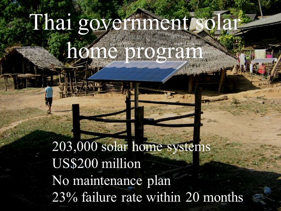 Thai government solar home program 203,000 solar home systems US$200 million No maintenance plan 23% failure rate within 20 months