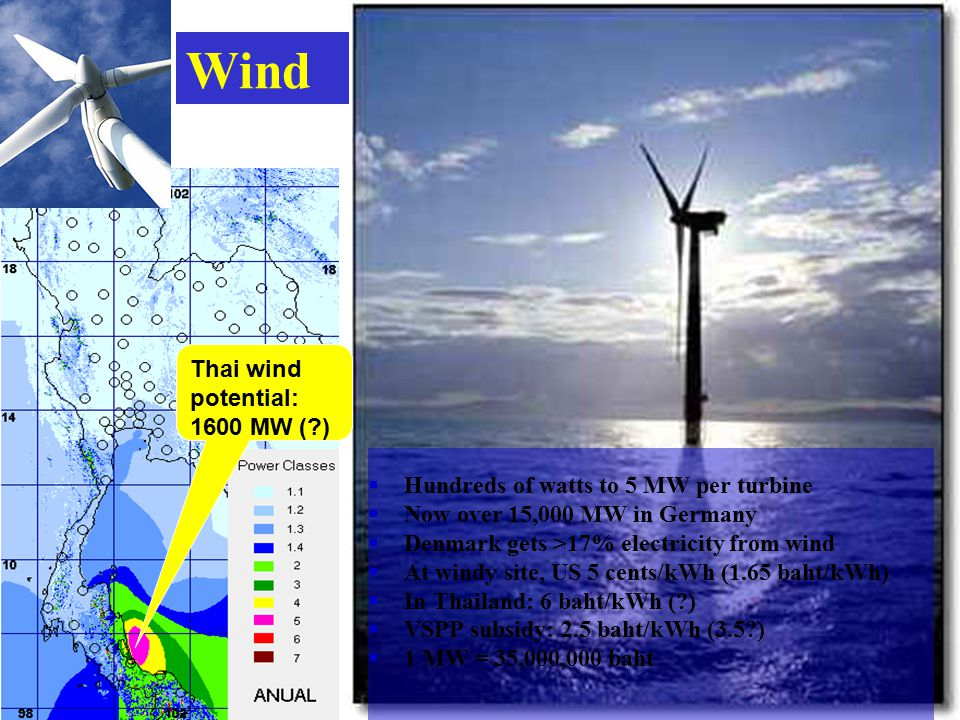 Wind  Hundreds of watts to 5 MW per turbine  Now over 15,000 MW in Germany  Denmark gets >17% electricity from wind  At windy site, US 5 cents/kWh