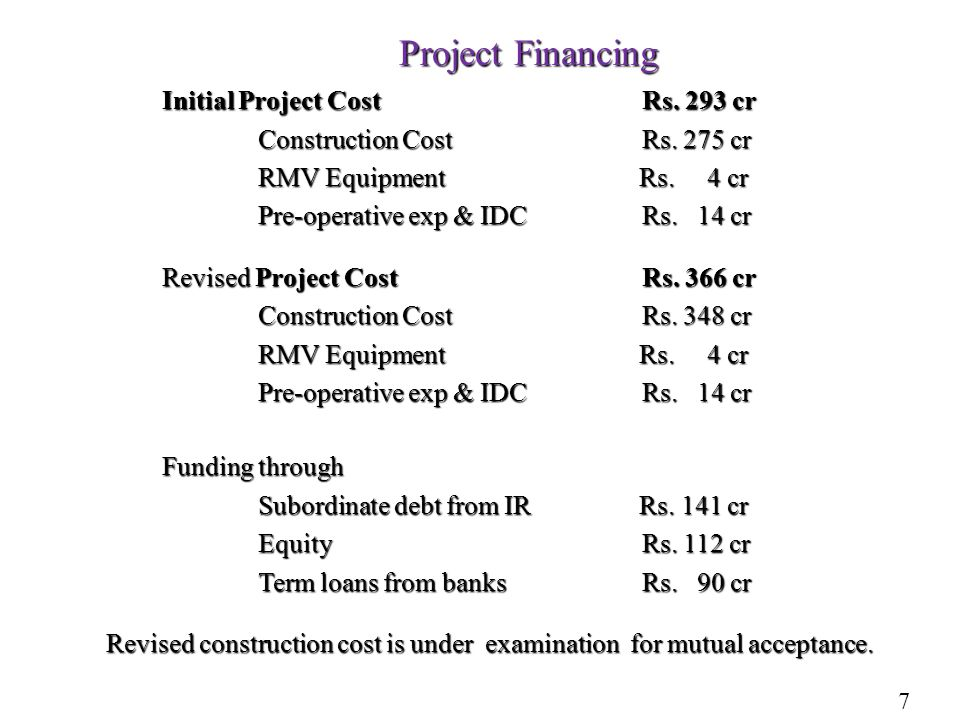 Project Financing Initial Project CostRs. 293 cr Construction Cost Rs.