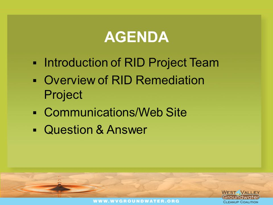 AGENDA  Introduction of RID Project Team  Overview of RID Remediation Project  Communications/Web Site  Question & Answer