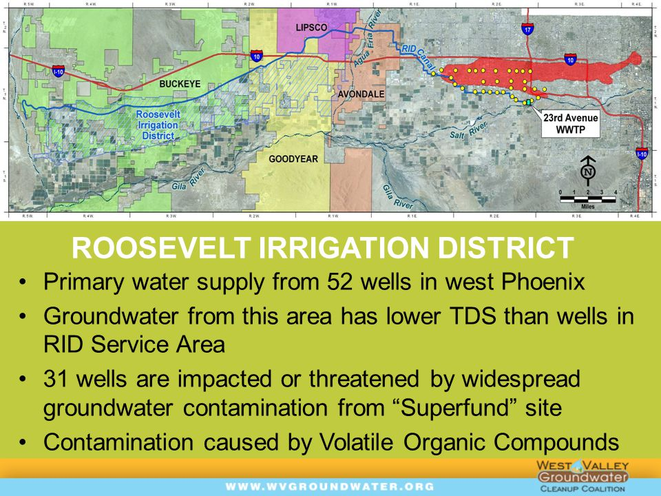 RID OBJECTIVES  Mitigate VOC impacts at RID Wells to allow unrestricted operations and maximize beneficial use of water supply  Protect human health and the environment by reducing exposure to VOCs  Prevent further groundwater quality degradation  Begin restoration of groundwater  Maximize use of existing infrastructure to fast track response actions