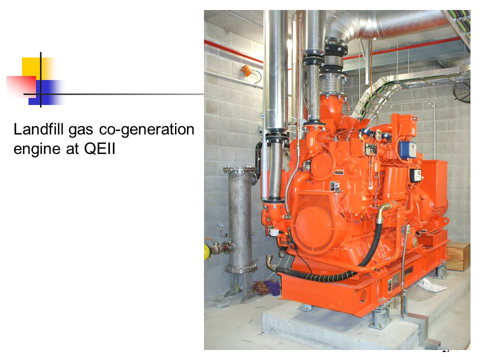 17 Landfill gas co-generation engine at QEII