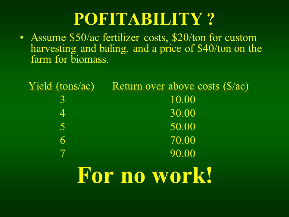 POFITABILITY ? Assume $50/ac fertilizer costs, $20/ton for custom harvesting and baling, and a price of $40/ton on the farm for biomass. Yield (tons/a