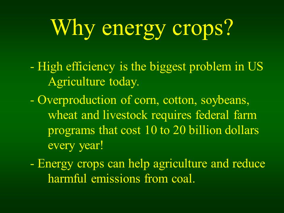 Why energy crops. - High efficiency is the biggest problem in US Agriculture today.