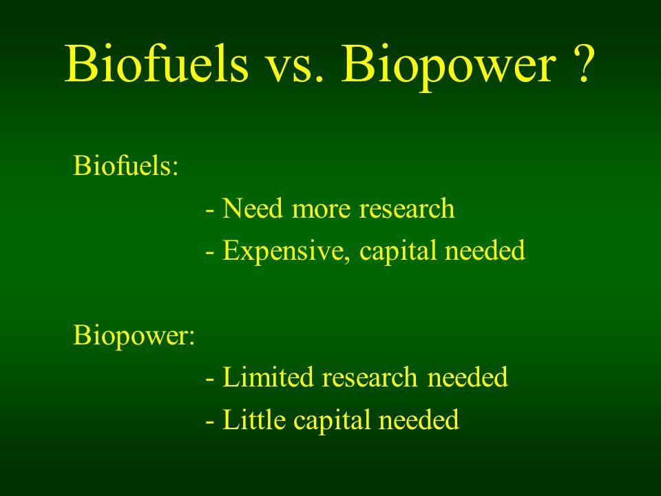 Biofuels vs. Biopower .