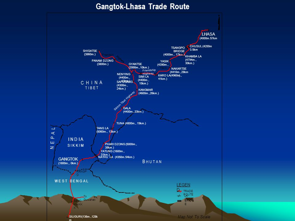 LHASA (4000m.57km.) CHUSUL (4200m., 3.5km.) NAKARTSE (4410m.,28km.) GANGTOK (1800m., 0km.) YATUNG (1600m., 31km.) GYANTSE (3990m.,10km.) KANGMAR (4600